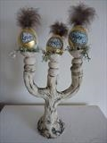 Egg Sculptures by Tati Dennehy, Sculpture, Ceramic, Duck Eggs and Feathers.