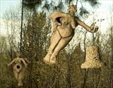 Hanging bird feeder and nest boxes by Tati Dennehy, Sculpture, Stoneware ceramic
