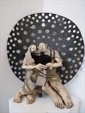 Knitting together by Tati Dennehy, Sculpture, Ceramic and Wool